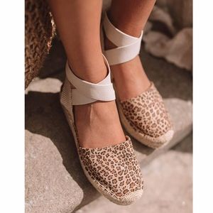 Shoes - BETH Leopard print Ankle wrap Espadrille